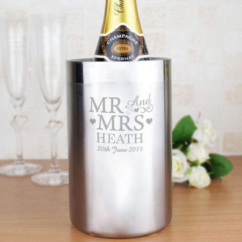 Personalised Mr & Mrs Stainless Steel Wine Cooler